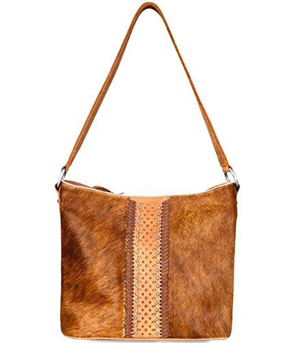 West Hide on Delila Top Hobo Montana Colors Leather amp; Brown Zip 3 Hair d4YqUqX