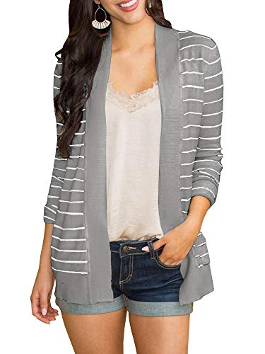 Tutorutor Womens Tops Striped Open Front Cardigan Sweaters Coat Lightweight Outwear Casual Duster with Pockets