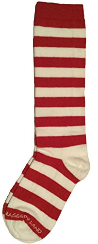 Red & White Stripe Knee High Socks - Youth, Child - Raggedy Ann Rag Doll & - Socks Candy High Knee Stripe