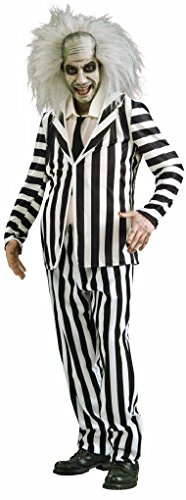 [Ponce Mens Beetlejuice Costume Beetle Juice Suit Black White Outfit] (Beetle Juice Wig)