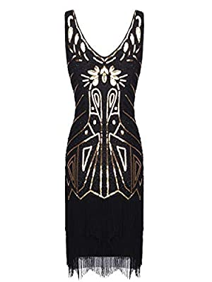 FAIRY COUPLE Women's 1920s Flapper Dress Gatsby Dress V Neck Beaded Fringed Dress