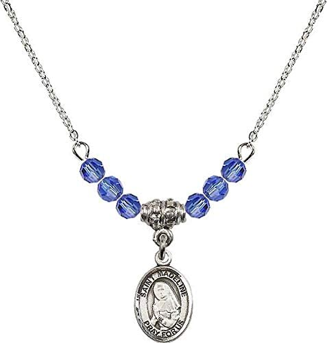 18-Inch Rhodium Plated Necklace with 4mm Sapphire Birthstone Beads and Sterling Silver Miraculous Charm.