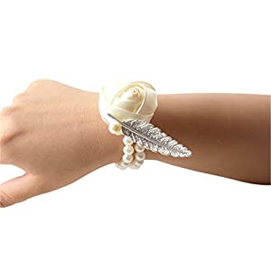 Jackcsale Bride Wrist Corsage Bridesmaid Wrist Flower Corsage for Wedding Prom Homecoming 63