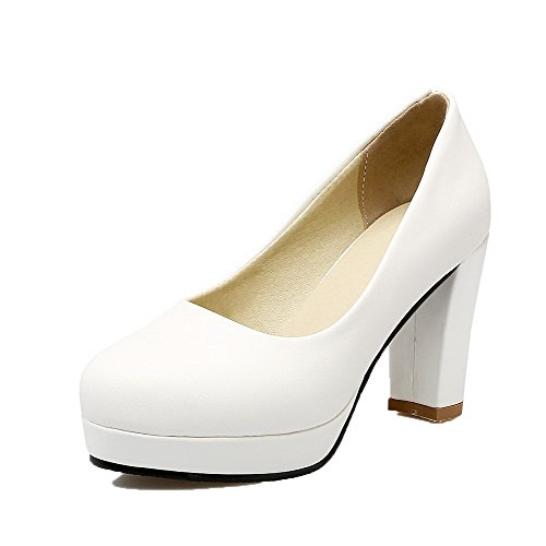 Allhqfashion Womens Solid Pu Hoge Hakken Pull-on Ronde-teen Pumps-shoes White