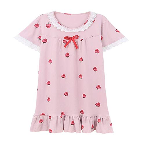 Pink Cotton Cute Strawberry Home Mmllse Pigiama Fashion Youth Color Dress Nightdress Photo Girl gndRRIHqx