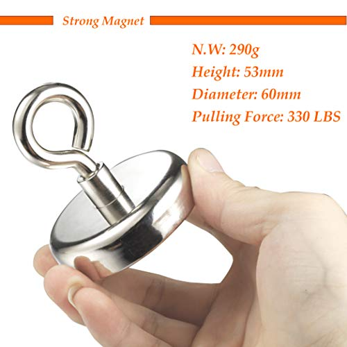 Wukong 330LB(150KG) Super Powerful Neodymium Fishing Magnets Magnetic Grade N52 Diameter 2.36'' Round Neodymium Magnet with Eyebolt, Magnet for River or Lake Fishing