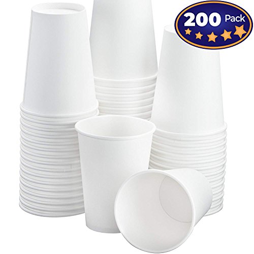 Restaurant Grade 12 Oz White Paper Coffee Cups 200 Pack By Avant Grub. BPA Free Disposable Cups For Hot and Cold Drinks. Serve Teas, Sodas, Ciders and More At Kiosks, Shops, and Concession Stands