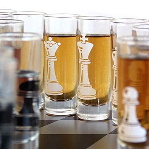 32-piece Chess Shot Glass Set - 2 Ounce (Sale Chess Pieces Glass For)