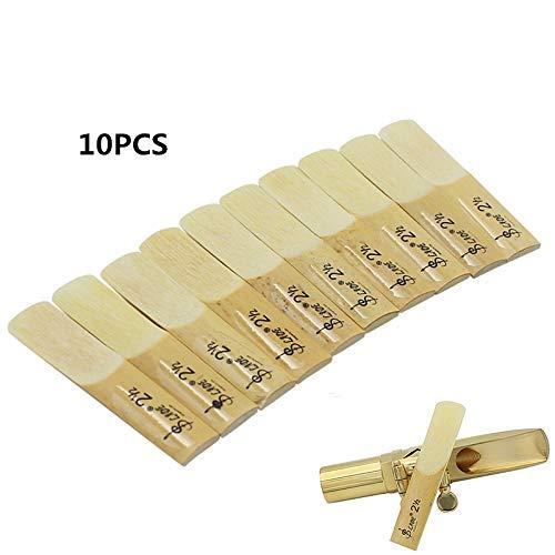 Zehui 10 Piezas, Accesorios de saxofón, Alto BE Cañas de saxofón Bamboo 2-1/2 Sax Reed Strength 2.5 Piezas de Instrumentos...