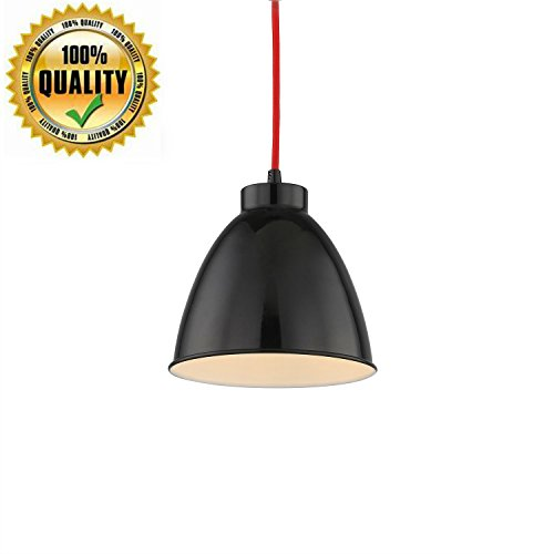 Pendant Mini Hanging 1-Light fixture Led Finish Ceiling Lamp for Office Farmhouse Exibiton Factory Studio Art Gallery Library industrial Lighting with Adjustable Cable-Black