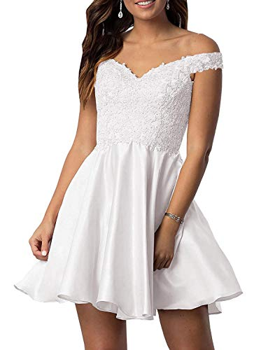 Shibel dress Women's Off The Shoulder Stain Homecoming Dresses Appliques Beads Short Prom Dress with Pockets White 16 ()