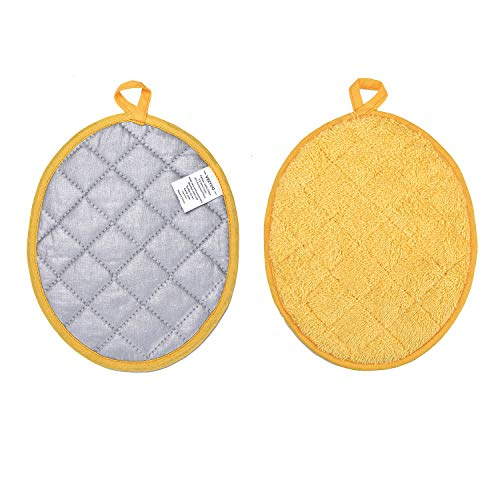(VEEYOO 100% Cotton Pot Holders Hot Pads Quilted Trivet Mats Spoon Rest Heat Resistant (Oval Potholders, 9.5x7.5, Yellow))