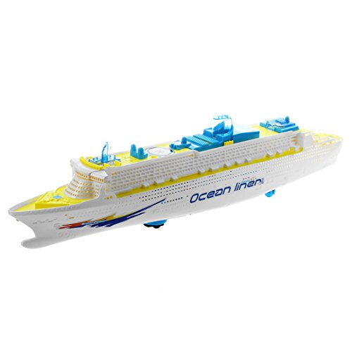 Ocean Liner Ship (Ocean Liner Toy - TOOGOO(R) Ocean Liner Cruise Ship Boat Electric Toy Flashing LED lights sounds kids child Blue+Yellow)