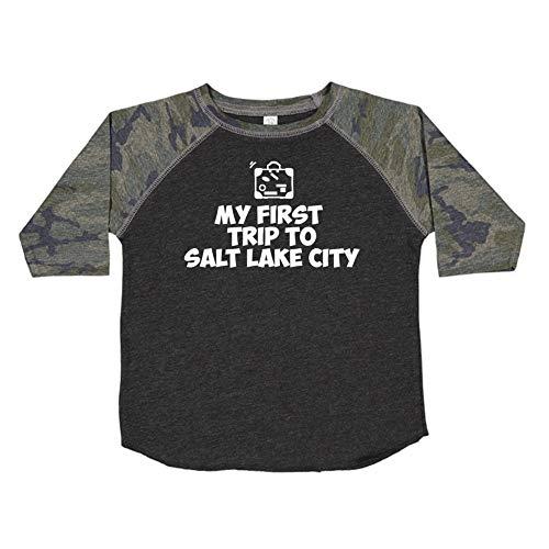 My First Trip to Salt Lake City - Toddler/Kids Raglan T-Shirt (Smoke/Camo 2T)