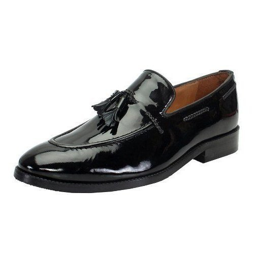 black shiny loafer shoes