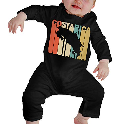 Long Sleeve Cotton Bodysuit for Unisex Baby, Cute Retro Style Costa Rica Silhouette Jumpsuit Black]()