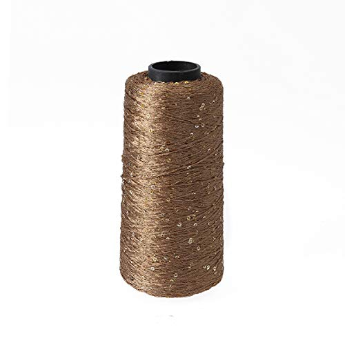 SUPVOX Sparkly Cotton Yarn with Sequin Crochet Thread Crafts Knitting Yarn (250g Golden) ()
