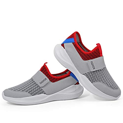 03ccd6547a6a8 TIFENNY Summer Leisure Breathable Shoes Men's Net Surface Flat Running  Hollow Shoes Non-Slip Soft Bottom Sneakers Gray