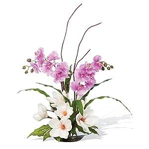 Petals – Magnolias & Orchids Silk Arrangement – Amazingly Lifelike – Vibrant Colors – Hand-Crafted – 26 x 15 Inches