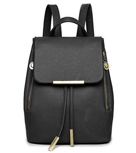 WINK KANGAROO Fashion Shoulder Bag Rucksack PU Leather Women Girls Ladies Backpack Travel bag (small black) (Leather Black Backpack Handbags)