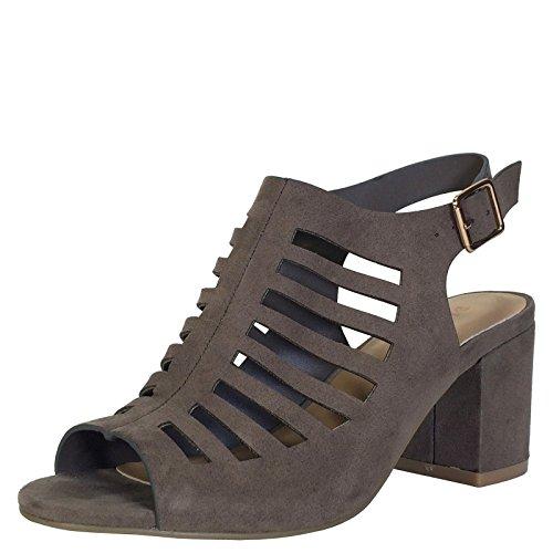 Sandalo Tacco A Spillo Da Donna Con Plateau In Pelle Di Sandalo Taupe Finto Pelle Scamosciata