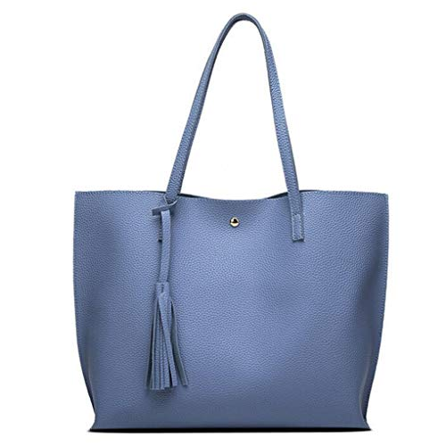 Women Girls Tassels Leather Tote Shoulder Bags Satchel Handbags Large Laptop Purses (Sky Blue)]()