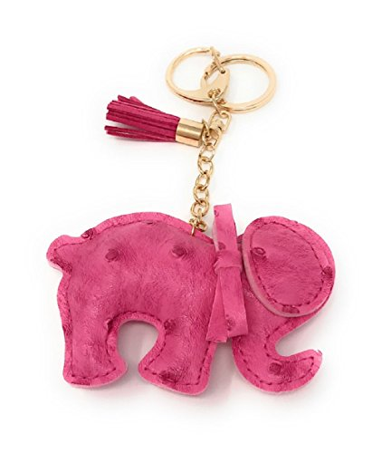 BYSUMMER Elephant Key Chian With Tassel & Bag Charm (Candy Pink) -