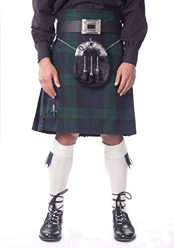 Kilt Society Mens 7 Piece Full Dress Kilt Outfit- Black Watch Tartan with White Hose 38'' to 42'' by Kilt Society