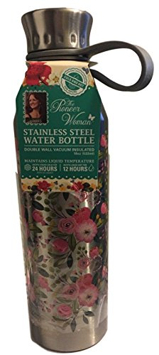 Pioneer Woman Stainless Steel Water Bottle 18 oz 24 Hrs Cold 12 Hrs Hot (Stainless Steel)