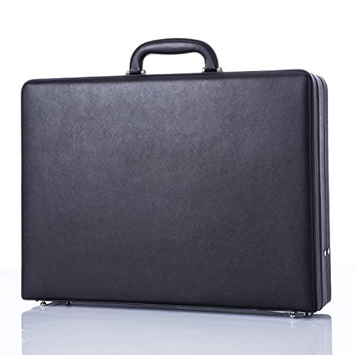 - Business Leather Mens Briefcases for Travel Vintage Outlook Organized Interior Hard-sided Attaché Cases- Black