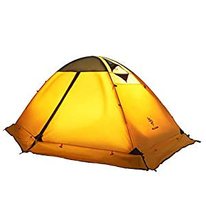4 season 2-person Double Layer Waterproof Dome Backpacking Tent Aluminum Rod Windproof for Camping Hiking Travel Climbing (YELLOW)