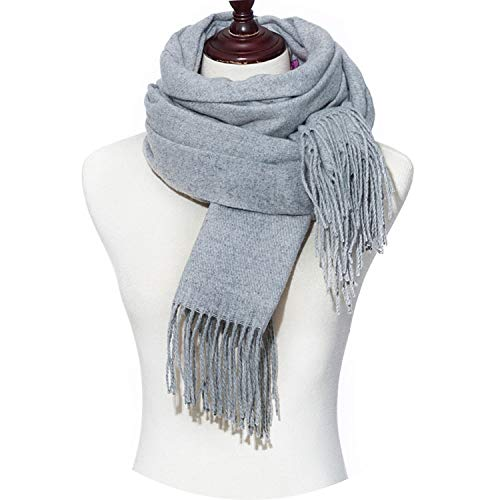 Winter Scarves Women Scarf Cotton Winter Shawl Ladies Solid Wraps,B]()