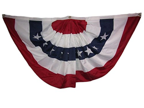 6' Clip Fan - 3x6 FT Embroidered USA American 2ply 600D Nylon Flag Bunting Fan 3'x6' Clips
