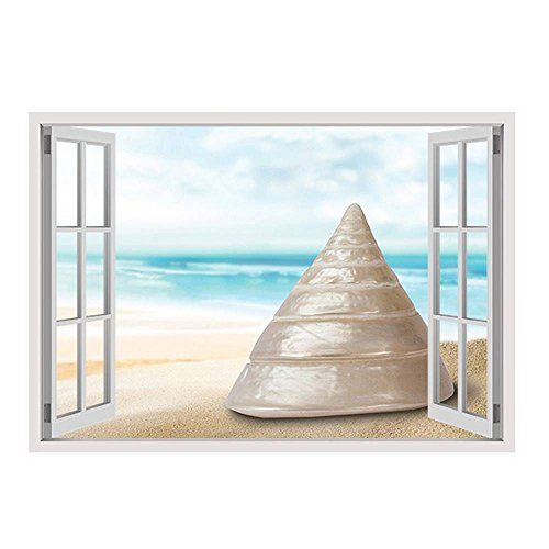 Alonline Art - Sea Snail In His Shell by Fake 3D Window | print on canvas | Ready to frame (synthetic, Rolled) | 22