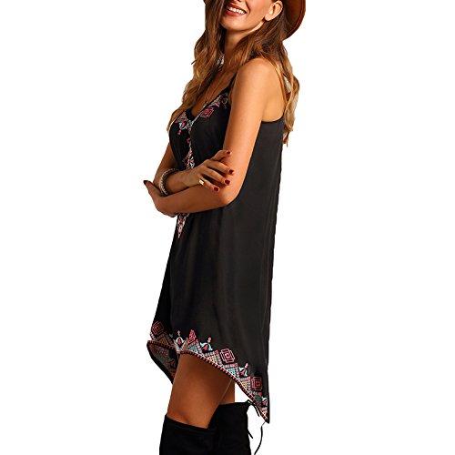 flojo impreso de mujeres sin mxssi de mujer fiesta Negro vestidos verano sexy de las playa vestido mangas Vestido moda de bodycon wxpqY0T0