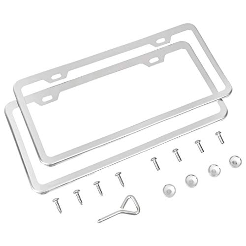 Amazon Basics Stainless Steel License Plate Frame with Screw Caps – 2-Hole, 12.3″ x 6.3″, Chrome Mirror
