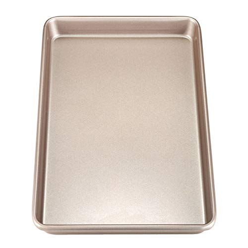"CHEFMADE 17-Inch Rimmed Baking Pan, Non-stick Carbon Steel Cookie Sheet Pan, FDA Approved for Oven Roasting Meat Bread Jelly Roll Battenberg Pizzas Pastries 12"" x 17""(Champagne Gold)"