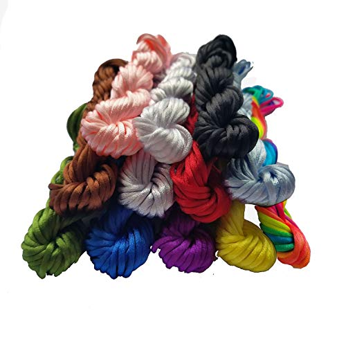 Satin Cord - 12 Colors 130 Yards 2.0mm Satin/Rattail Silk Cord Nylon String Nylon Beading String for Necklace Bracelet Beading Cord