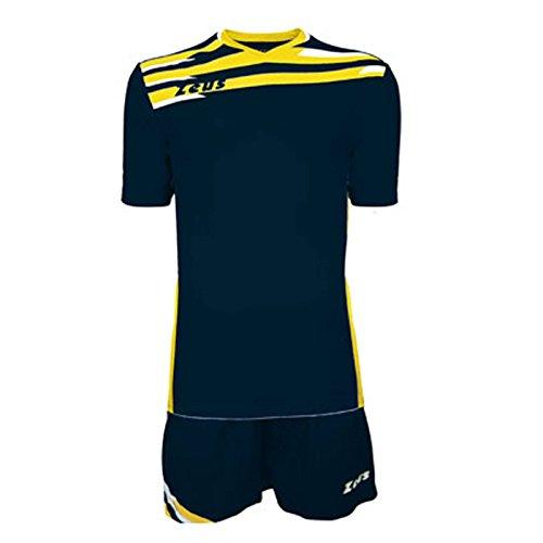 Zeus Kit Itaca Herren Kinder Trikot Shirt Hosen Klein Armel Kit Fußball Hallenfußball Blau-Gelb-Weiss (XS)