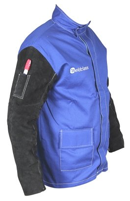 Taipan Abrasives WC-04658  Weldclass Promax FR Welding Jacket, Fire Retardant with Leather Sleeves, Blue, Large by Taipan Abrasives