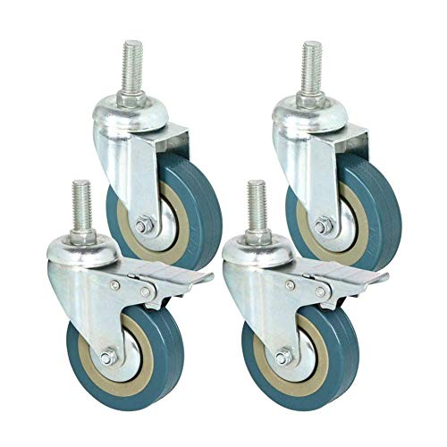 "Gizhome 3"" Stem Swivel Casters Heavy Duty Caster Wheels PVC Threaded with 360 Degree Blue Wheels (2 with Brakes& 2 Without) - Pack of 4"