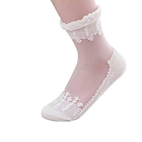 Price comparison product image BESTOYARD Ankle Dress Socks Ultra-thin Transparent Lace Socks Low Socks One PairWhite)