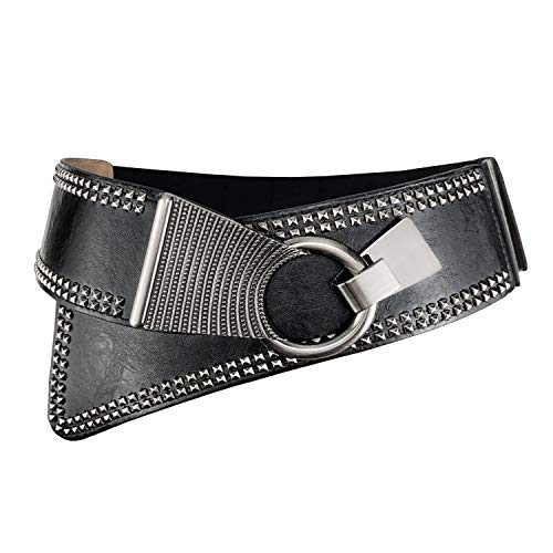 Women's Fashion Vintage Wide Waist Belt Elastic Steampunk Corset Belts Cinch With Interlock Buckle -
