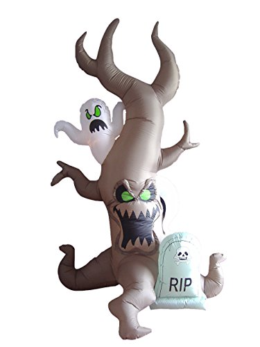 8 Foot Tall Halloween Inflatable Grave Scene with Ghost, Dead Tree Monster and Tombstone Party LED Lights Decor Outdoor Indoor Holiday Decorations, Blow up Lighted Yard Lawn Decor Home Family -