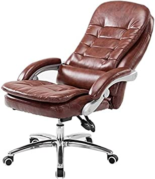 CSD Silla de cuero de la PU de altura ajustable Silla de oficina con respaldo alto 135 ° Inclinación de la silla doble amortiguador de asiento de soporte de peso 150 kg adecuados for Ministerio del In