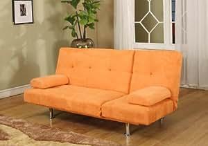 Orange Microfiber Adjustable Klik Klak Sofa Futon Bed Sleeper