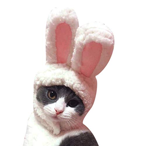 ELINKMALL Pet Costumes Dogs Cats Cartoon Costumes-Cute White Rabbit Ear Shaped Hat Cap Dog Kitten Cosplay Headband Headwear
