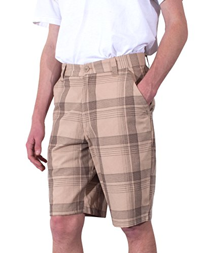 YAGO Men's Shorts Plaid Print With Cell Phone Pocket (Khaki,42) (Cell Pocket Khaki Phone Shorts)