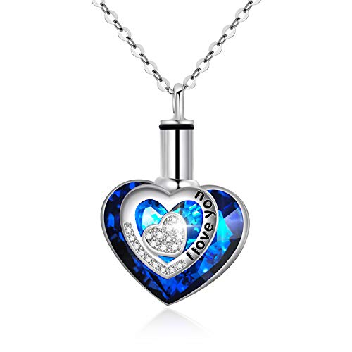 AOBOCO 925 Sterling Silver Urn Necklaces for Ashes Engraved I Love You Pendant Cremation Necklace with Blue Heart Swarovski Crystals Fine Memorial Jewelry (I Love You Cremation Necklace) ()