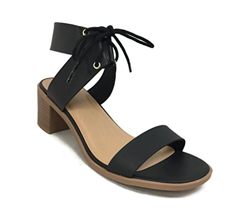 Classified Dress Sandal Chunky Heel Over Toe & Ankle Wrap Tie Front Strap